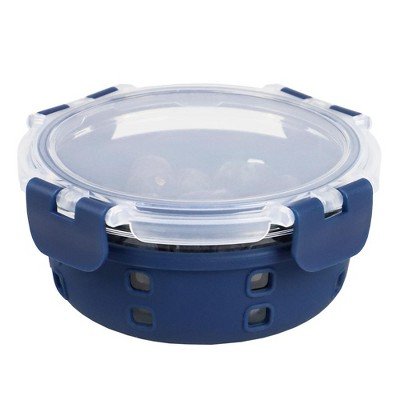 Michael Graves Design Round 13 Ounce High Borosilicate Glass Food Storage Container with Plastic Lid, Indigo