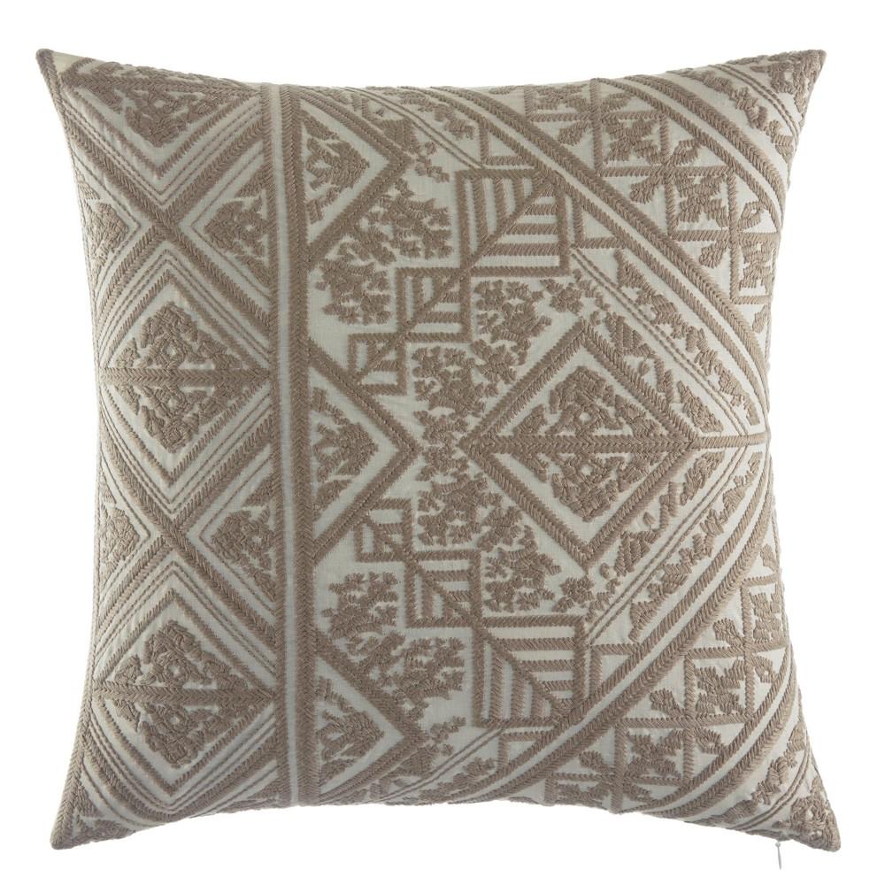 Selene Embroidered Throw Pillow Beige - Azalea Sky, New Oat