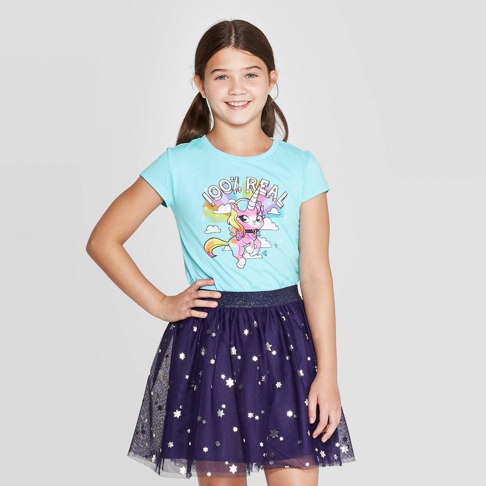 Image of petiteGirls' Funrise Rainbow Butterfly Unicorn Kitty Short Sleev T-Shirt - Blue L, Girl's, Size: Large