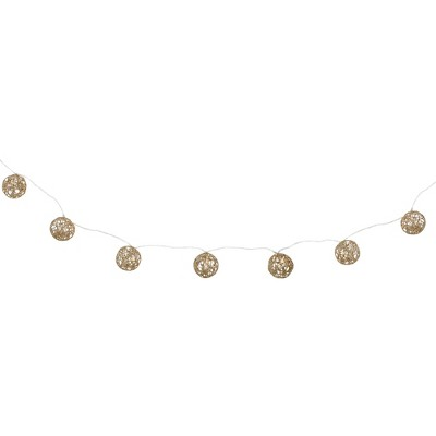 Northlight 6.75' LED Lighted B/O Gold Wire Ball Christmas Garland - Warm White Lights