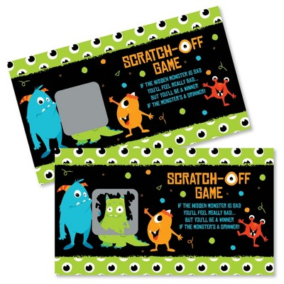 Big Dot of Happiness Monster Bash - Little Monster Birthday Party or Baby Shower Game Scratch Off Cards - 22 Count