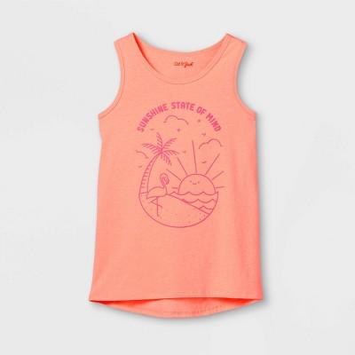 Girls' Beach Scene Graphic Tank Top - Cat & Jack™ Neon Peach
