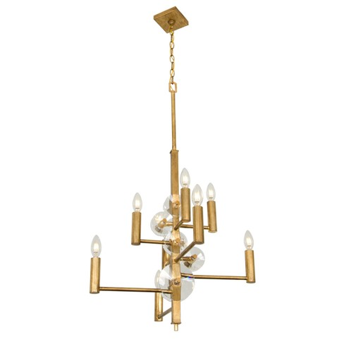 Engeared 8-Light Chandelier Antiqued Gold Leaf - Rogue Decor Co. - image 1 of 2