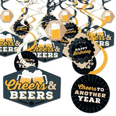 Big Dot of Happiness Cheers and Beers Happy Birthday - Birthday Party Hanging Decor - Party Decoration Swirls - Set of 40