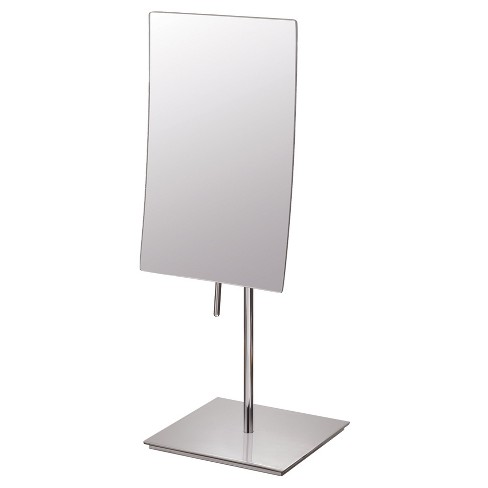 Rectangular Minimalist Free Standing Magnified Makeup Bathroom Mirror Polished Nickel - Aptations - image 1 of 1