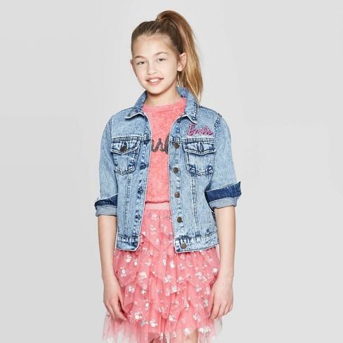 9ca372c7eb1 Girls' Barbie 60th Anniversary Denim Jacket - Blue : Target
