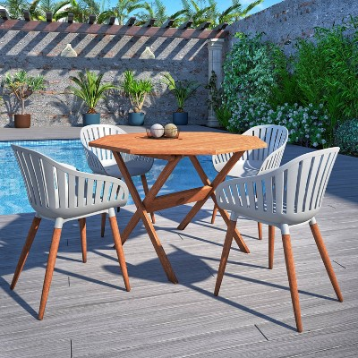 Titchwell 5pc Eucalyptus Wood Patio Dining Set with Octagonal Table - Amazonia