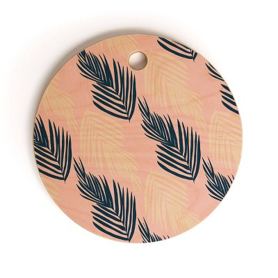 "13"" Wood Sunshine Canteen Pink Palms Cutting Board - society6"