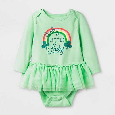 Baby Girls' St. Patrick's Long Sleeve Bodysuit - Cat & Jack™ Green 6-9M