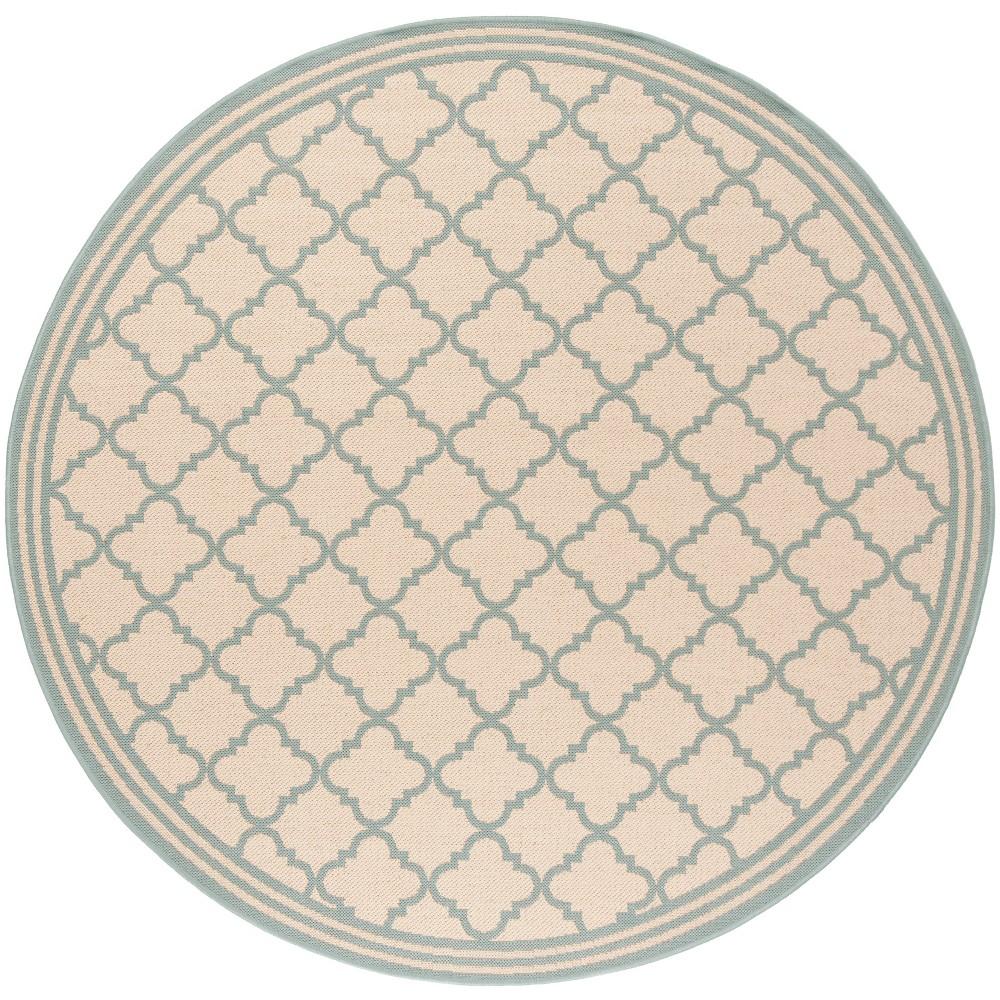 6'7 Quatrefoil Design Loomed Round Area Rug Cream/Aqua (Ivory/Blue) - Safavieh