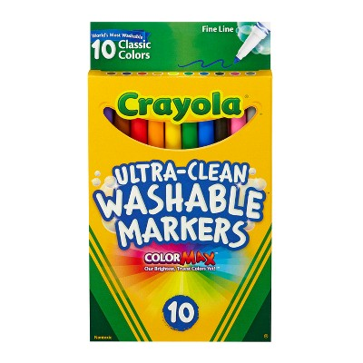 Crayola 10ct Ultra-Clean Washable Markers Fine Line Classic Colors