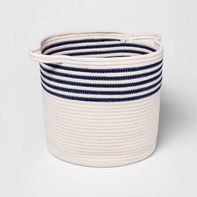 Coiled Rope Bin - Cloud Island™ Navy Stripes
