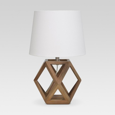 Geometric Wood Figural Accent Lamp Brown Threshold