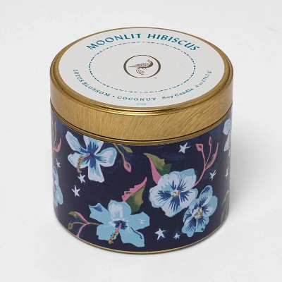 4oz Mini Patterned Tin Mandarin Hibiscus Candle - Opalhouse™