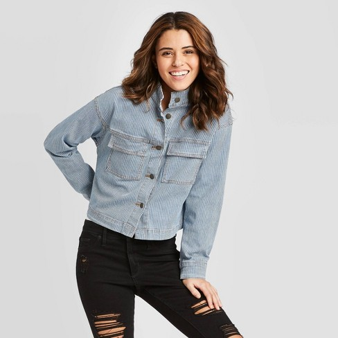 Women's Stripe Long Sleeve Railroad Denim Jacket - Universal Thread™ Blue - image 1 of 3