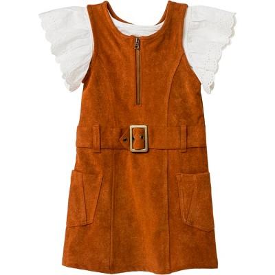 Toddler Girls' 2pc Jersey and Eyelet Short Sleeve Set - Genuine Kids® from OshKosh Almond Cream/Brown 18M