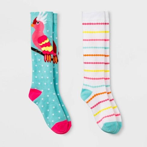 e99e9e721e2 Girls  2pk Parrot Print Socks - Cat   Jack™   Target