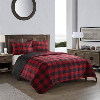 Dearfoams Buffalo Plaid Quilt Set