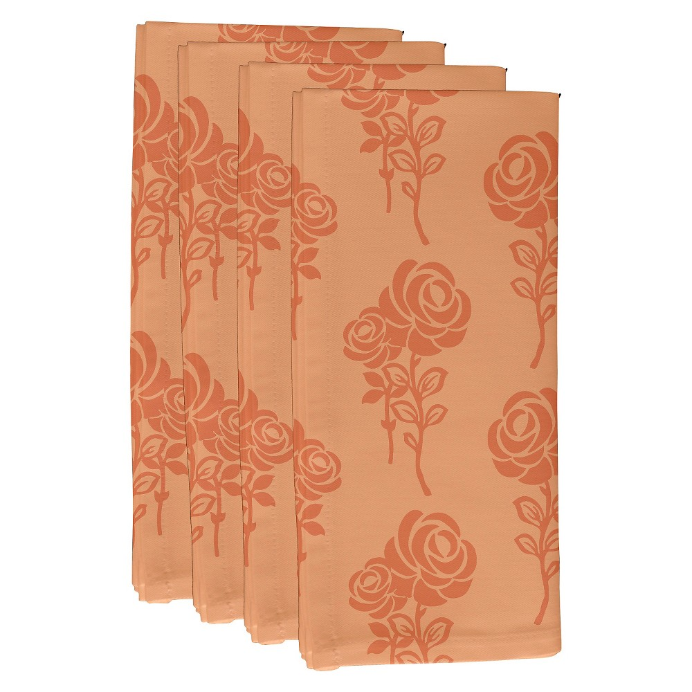"Image of ""Peach Madness Carmen Floral Print Napkin Set (19""""X19"""") - E By Design, Pink Madness"""