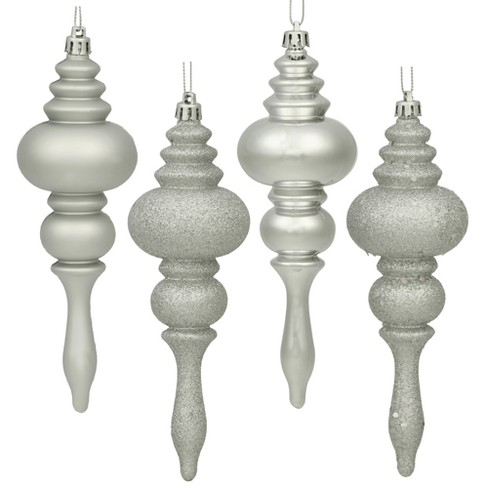 "4-Finish Finial Christmas Ornament Set Silver 7"" 8ct - Vickerman - image 1 of 1"