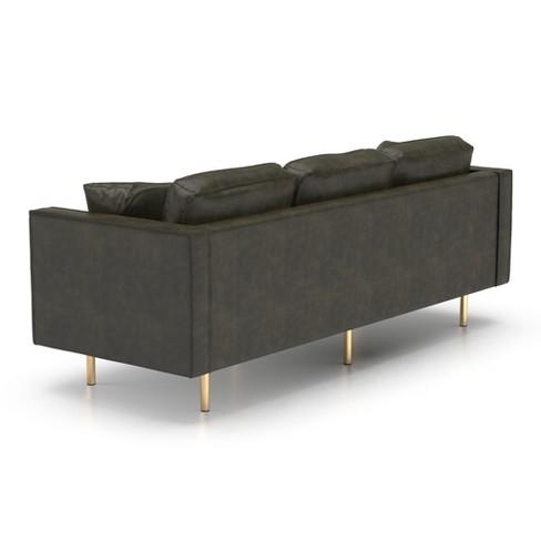 Fantastic Logan Modern Faux Leather Sofa Honey Tan Af Lifestlye Machost Co Dining Chair Design Ideas Machostcouk