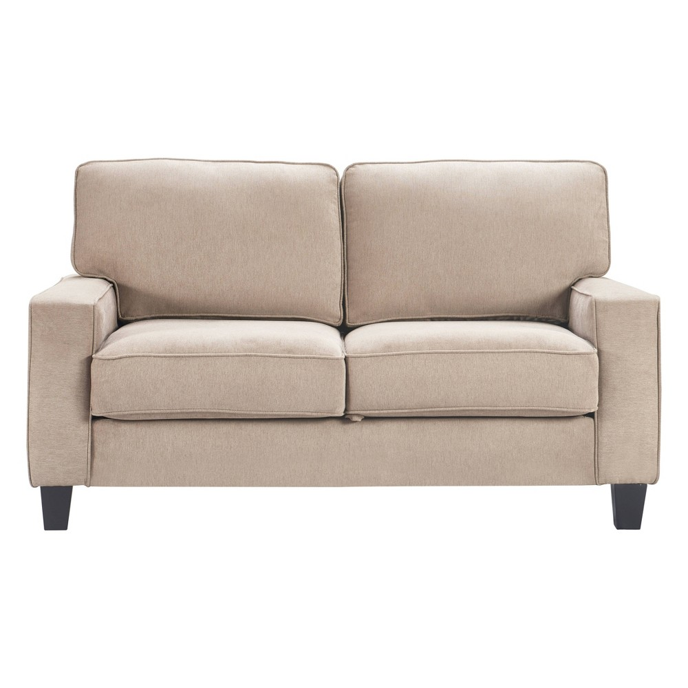 "Image of ""61"""" Palisades Track Arm Fabric Loveseat with Storage Soft Beige - Serta"""