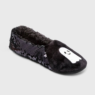 Women's Sparkly Ghost Flip Sequin Pull-On Slipper Socks with Grippers - Hyde & EEK! Boutique™ Silver/Black