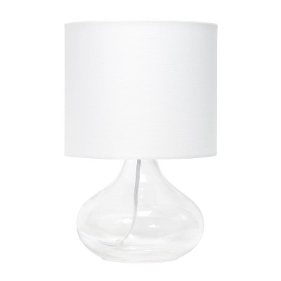 Glass Raindrop Table Lamp with Fabric Shade White - Simple Designs