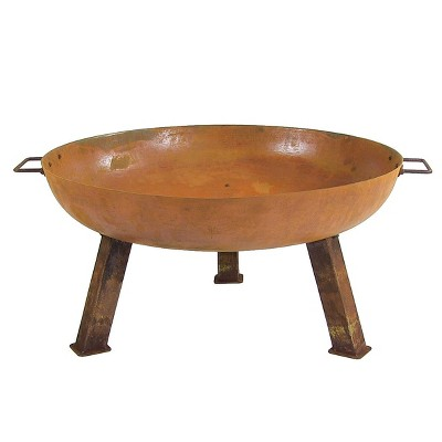 "Rustic 30"" Cast Iron Wood Burning Fire Pit Bowl - Round - Sunnydaze Decor"
