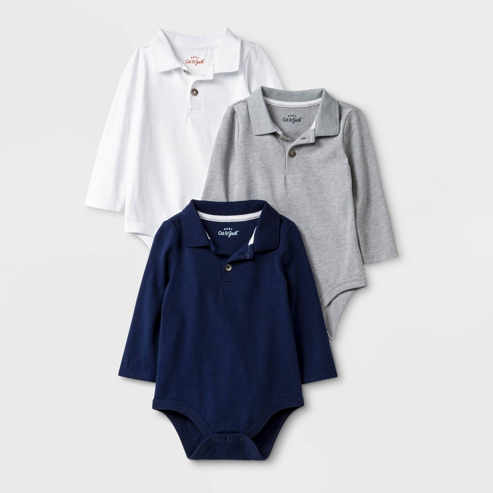 Image of Baby Boys' 3pk Long Sleeve Polo Bodysuits - Cat & Jack White/Gray/Blue 0-3M, Boy's