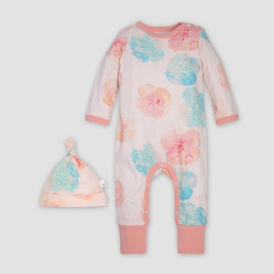 Burt's Bees Baby® Girls' Morning Poppy Coverall & Knot Top Hat Set - Pink 3-6M