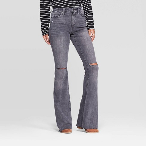 Women's High-Rise Flare Jeans - Universal Thread™ Gray - image 1 of 4