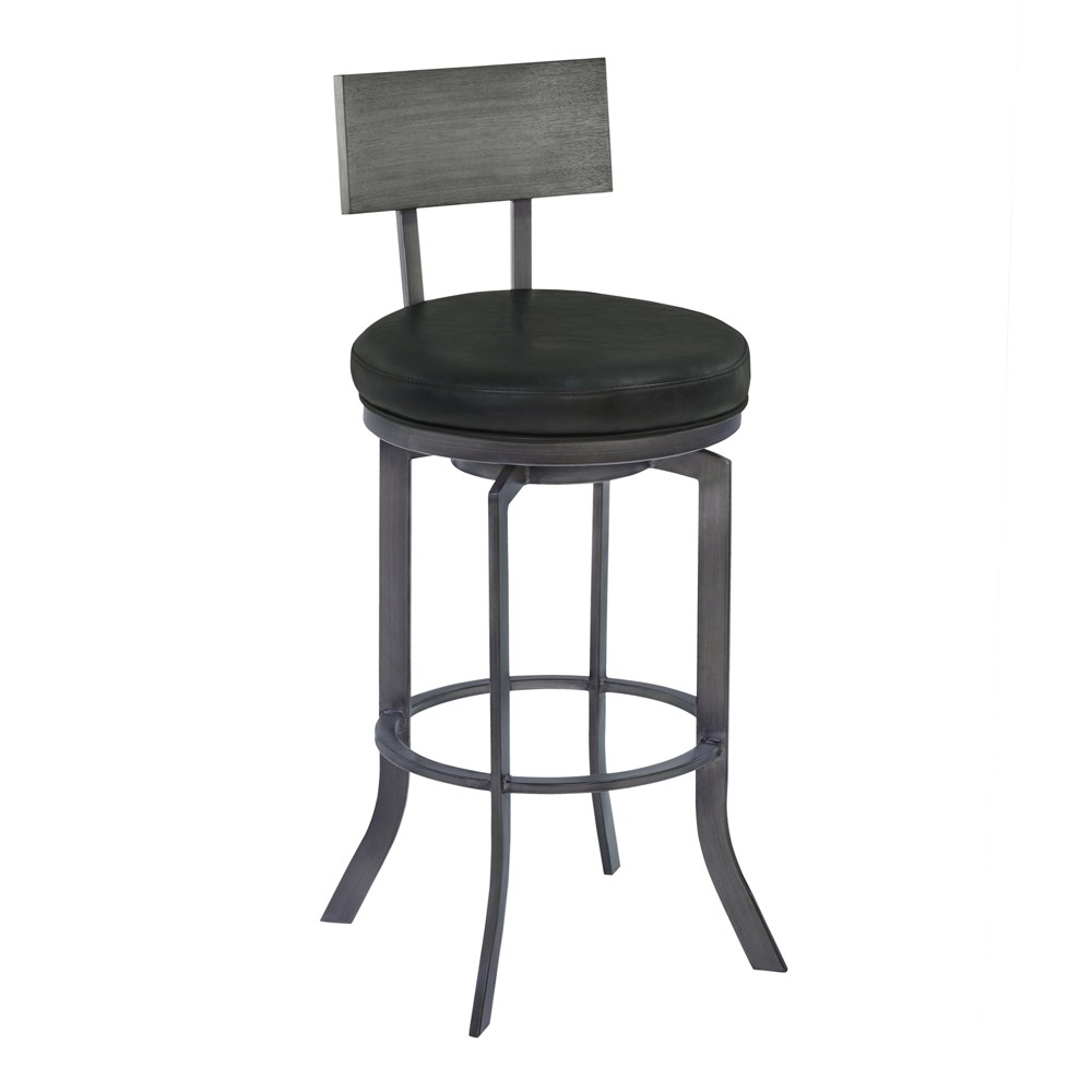 30 Armen Living Ojai Bar Height Metal Swivel Barstool Vintage Black