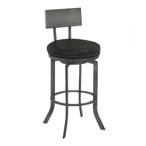 30 Armen Living Ojai Bar Height Metal Swivel Barstool Vintage Black