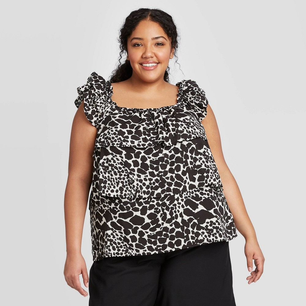 Women's Plus Size Animal Print Short Sleeve Blouse - Who What Wear Cream 4X, Women's, Size: 4XL, Ivory was $24.99 now $17.49 (30.0% off)
