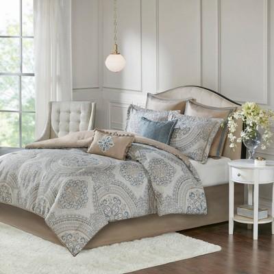 8pc King Albina Chenille Jacquard Comforter Set Seafoam