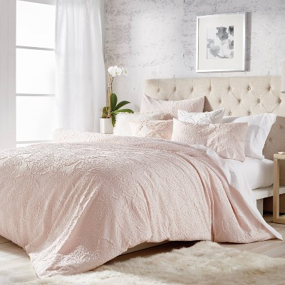 Full/Queen 3Pc Solid Medallion Comforter Set Blush - Microsculpt