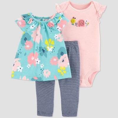 Baby Girls' Floral & Stripe Top & Bottom Set - Just One You® made by carter's Mint/Coral/Gray 6M