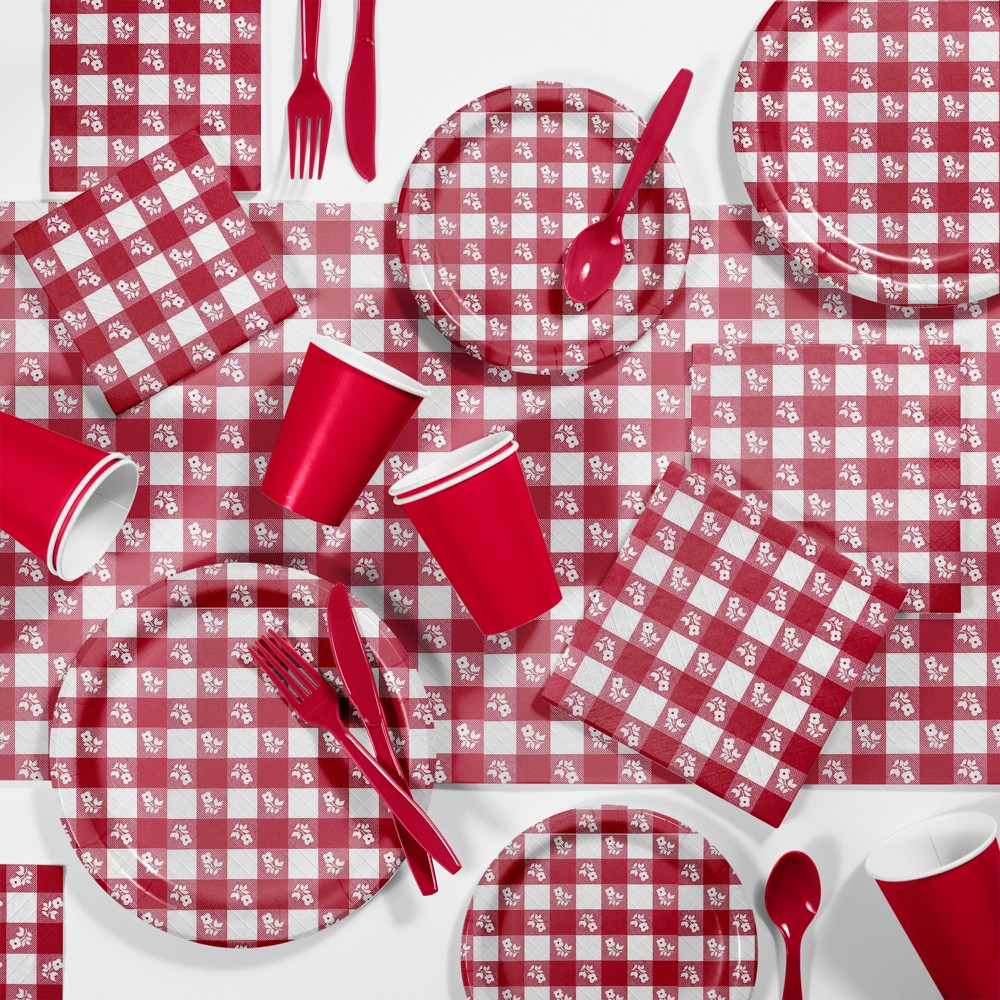 Red Gingham Picnic Supplies Kit