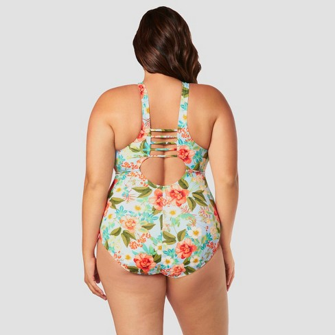 cee36ba444f Women's Plus Size Slimming Control High Neck One Piece Swimsuit - Beach  Betty by Miracle Brands Blue Floral