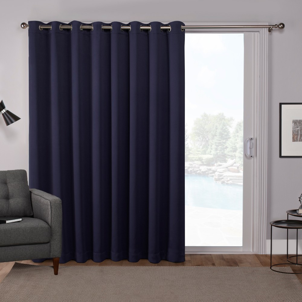 "Image of ""100""""x84"""" Sateen Blackout Solid Grommet Top Extra Wide Curtain Panel Blue - Exclusive Home"""