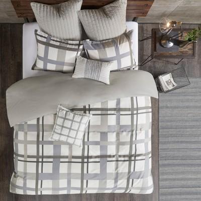 3pc Full/Queen Sterling Plaid Comforter Mini Set Blue/Gray