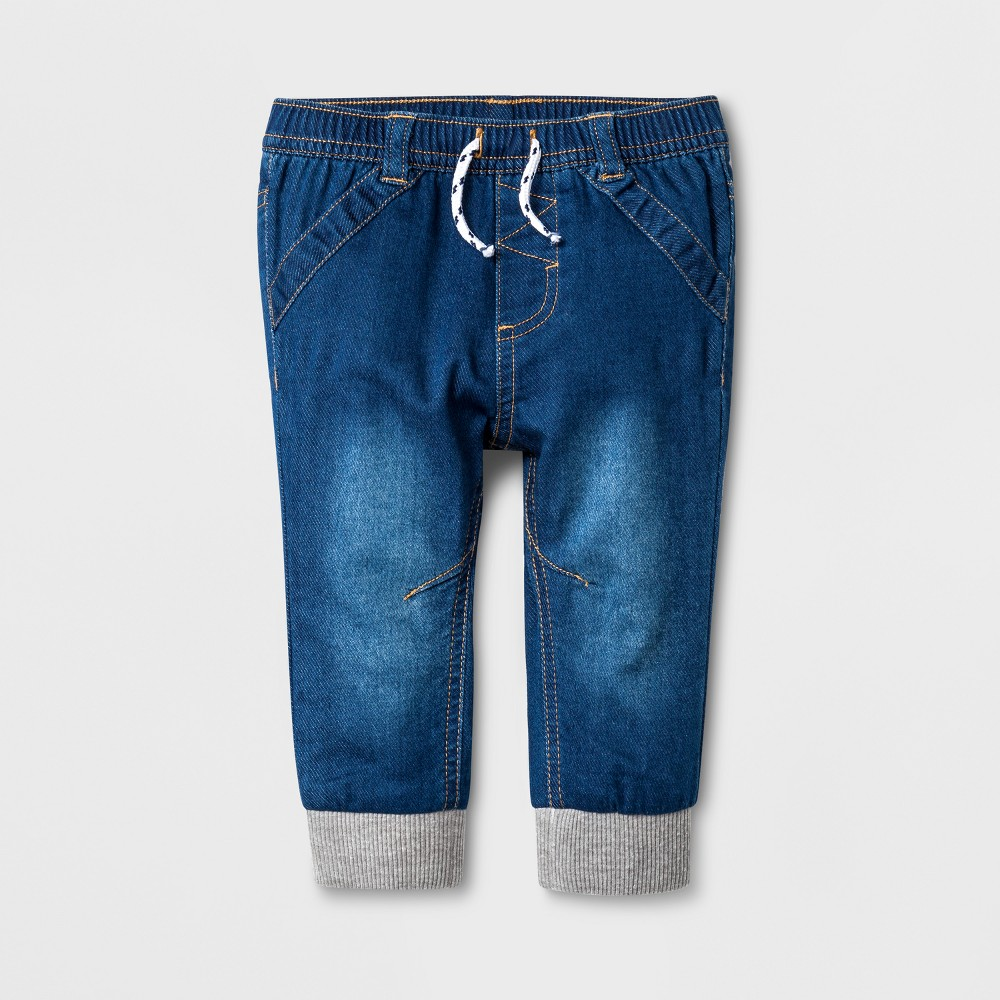 Baby Boys' Denim Joggers - Cat & Jack Dark Wash 3-6M, Blue
