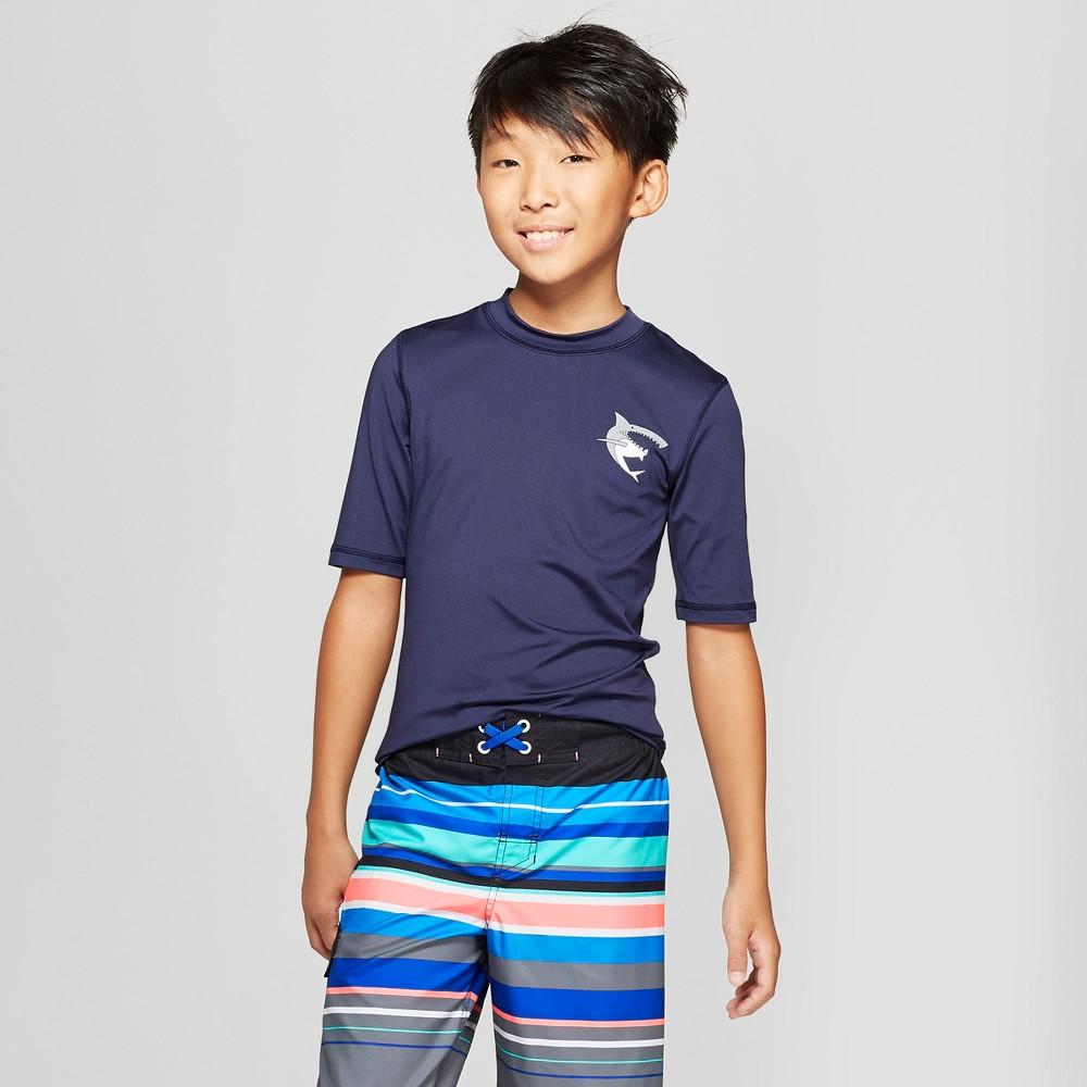 Boys' Shark Pocket Rash Guard - Cat & Jack Navy L, Blue