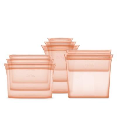 Zip Top Reusable 100% Platinum Silicone Container - Complete Set - Peach