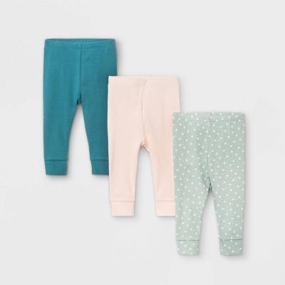 Baby Girls' 3pk Sweet Woodland Pull-On Pants - Cloud Island™ Light Pink 3-6M