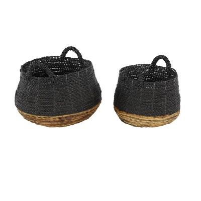 "Olivia & May 18""x14"" Set of 2 Large Round Blocked Banana Leaf Storage Baskets Gray/Natural"