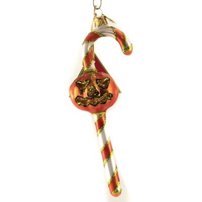 "Morawski 6.5"" Orange & White Candy Cane Ornament Halloween Pumpkin Jol  -  Tree Ornaments"