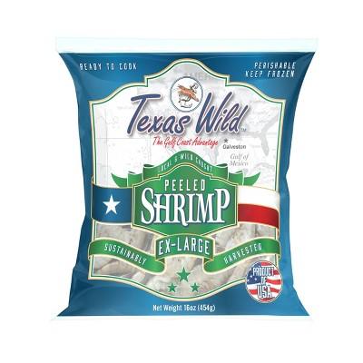 Texas Wild Extra Large Peeled & Deveined Wild Domestic Gulf Shrimp - Frozen - 24-40ct/16oz