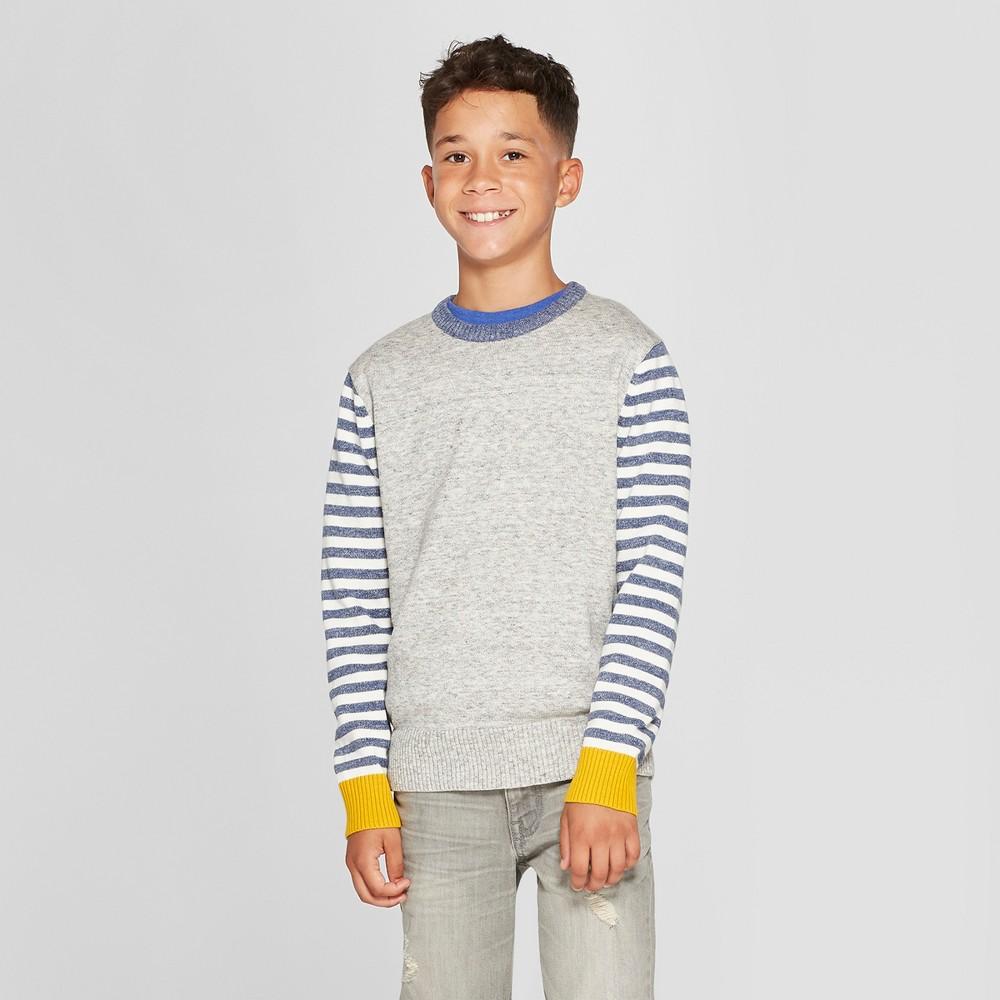 Boys' Long Sleeve Pullover Sweater - Cat & Jack Light Gray Xxl